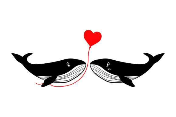 Lover Whales Valentine's Day Craft Cut File By Creative Fabrica Crafts