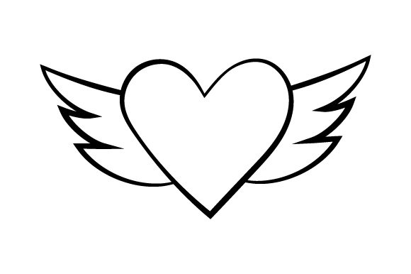 Download Free Heart With Wings Line Art Style Svg Cut File By Creative SVG Cut Files