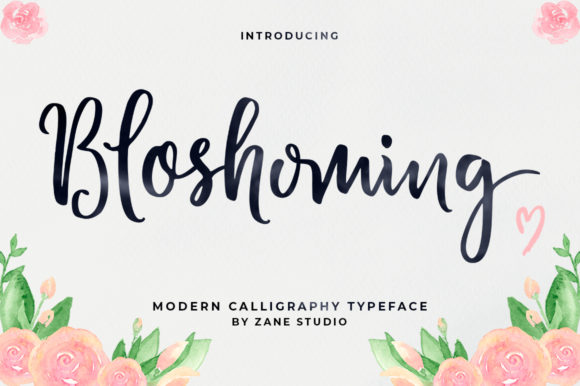 Print on Demand: Bloshoming Script & Handwritten Font By Zane Studio