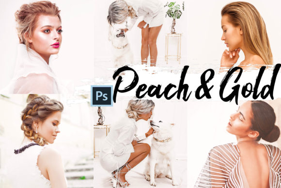 Print on Demand: 09 Peach & Gold Photoshop Actions, ACR Graphic Actions & Presets By 3Motional