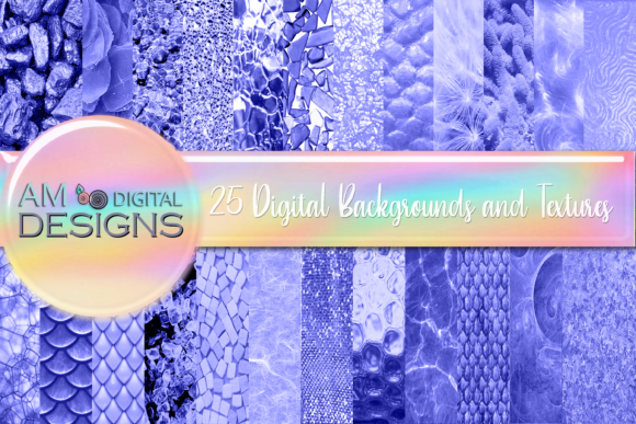 Print on Demand: 100 Blue Purple Background and Textures Graphic Backgrounds By Angela Wheeland