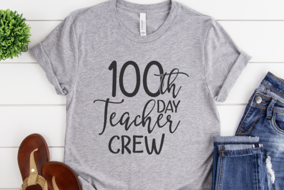Download Free 100th Day Teacher Crew Graphic By Morgan Day Designs Creative for Cricut Explore, Silhouette and other cutting machines.