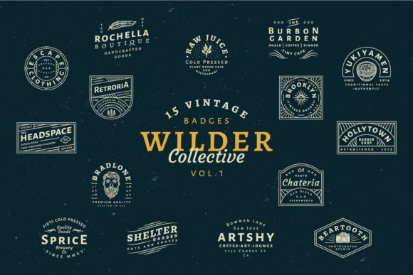 15 Vintage Bagde Logos Vol.1 Graphic Logos By tacikworks