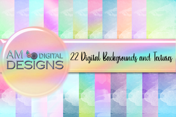 Print on Demand: 22 Pastel Watercolor Backgrounds Texture Graphic Backgrounds By AM Digital Designs