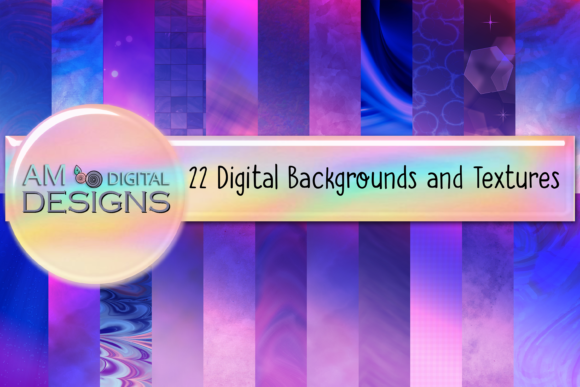 Print on Demand: 22 Purple Blue and Pink Background Graphic Backgrounds By Angela Wheeland