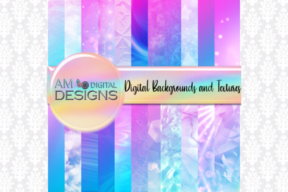 Print on Demand: 22 Rainbow Gradient Texture Backgrounds Graphic Backgrounds By Angela Wheeland