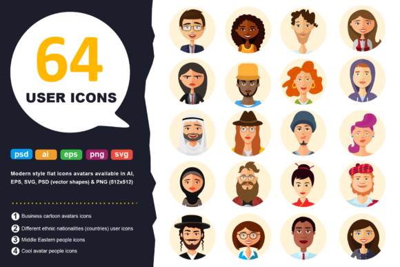 Download Free 64 Avatar Icons Vector People Collection Graphic By Niko Dzhi for Cricut Explore, Silhouette and other cutting machines.