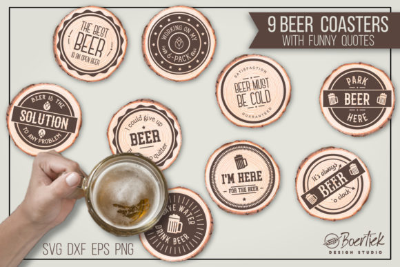9 Cut Files for Beer Coasters with Funny Graphic Crafts By Boertiek