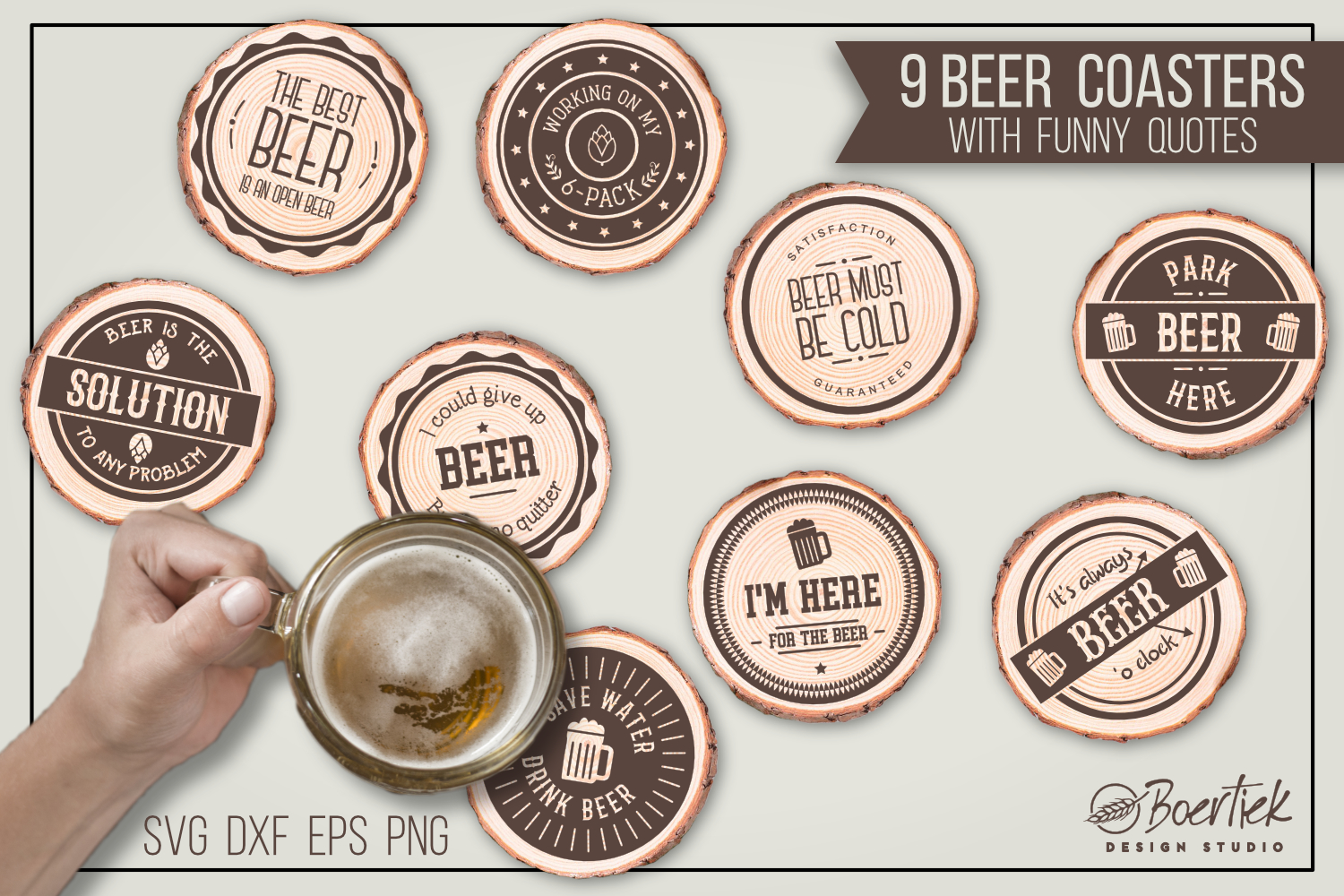Download Free 9 Cut Files For Beer Coasters With Funny Graphic By Boertiek for Cricut Explore, Silhouette and other cutting machines.
