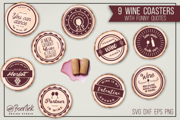 9 Cut Files for Wine Coasters with Funny Graphic Crafts By Boertiek