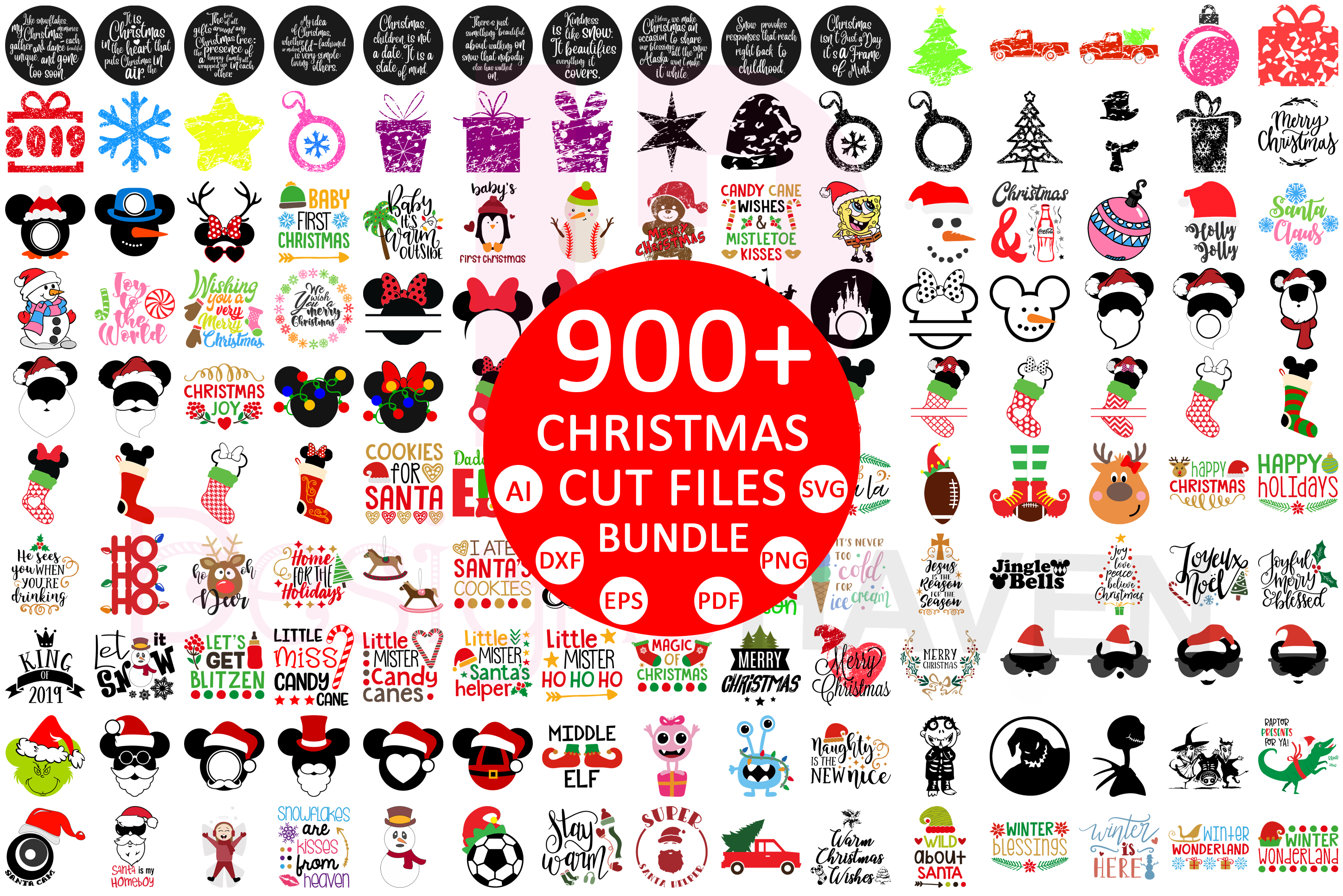 900 Christmas Cut File Svg Vector Pack Graphic By