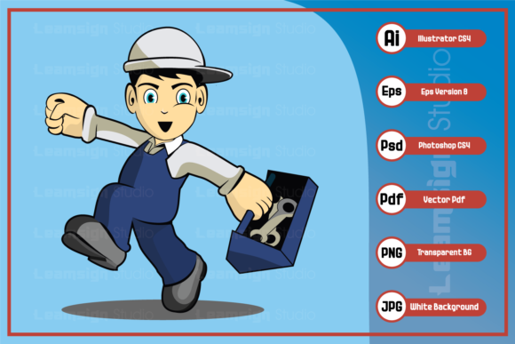 Download Free A Technician Cartoon Character Graphic By Leamsign Creative SVG Cut Files
