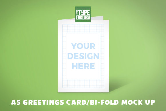 Print on Demand: A5 Greetings Card Bi-fold Mock Up Graphic Product Mockups By Little Type Factory