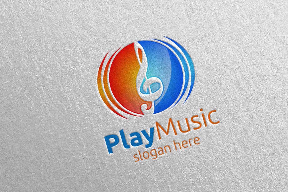 Download Free Abstract Music Logo With Play Concept 15 Graphic By Denayunecf for Cricut Explore, Silhouette and other cutting machines.