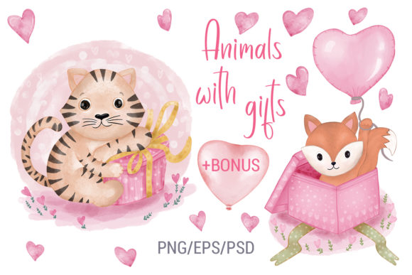 Print on Demand: Animals with Gifts Free BONUS Valentine Graphic Illustrations By PawStudio