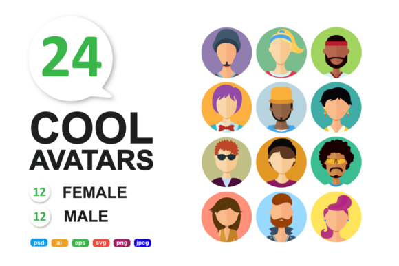 Download Free Avatars Vector People Set Graphic By Niko Dzhi Creative Fabrica for Cricut Explore, Silhouette and other cutting machines.