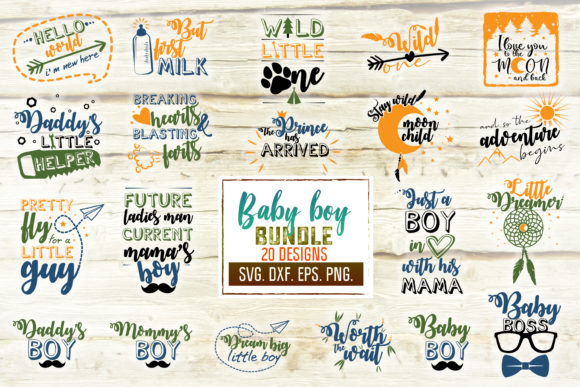 Print on Demand: Baby Boy Craft Bundle Graphic Crafts By SVGlaboratory - Image 1