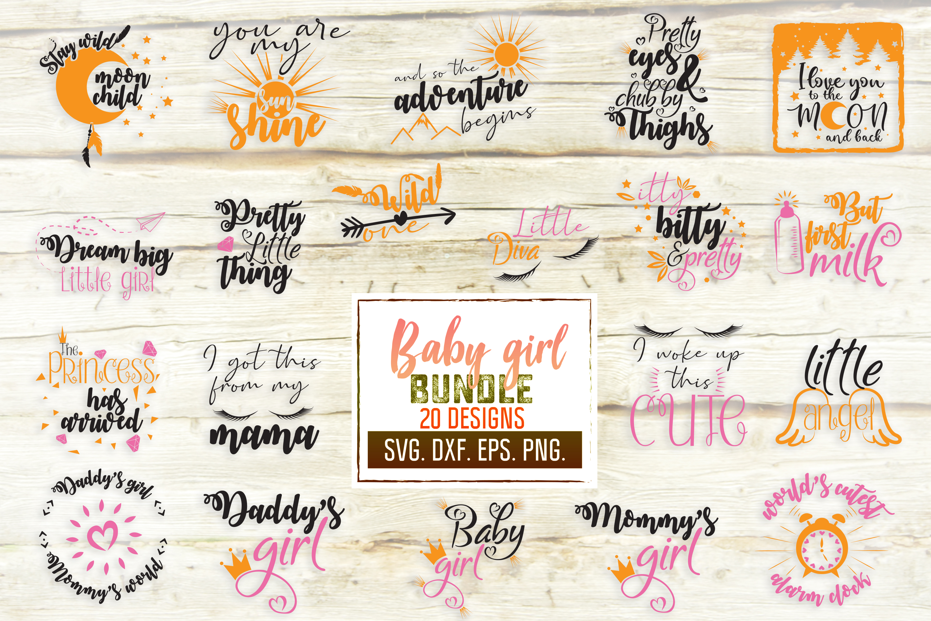 Download Free Baby Girl Craft Bundle Graphic By Svglaboratory Creative Fabrica for Cricut Explore, Silhouette and other cutting machines.