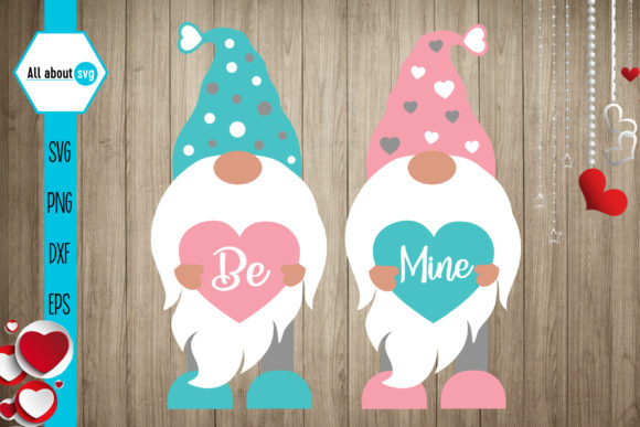 Be Mine Gnomies Svg, Valentines Gnomies Grafik Designvorlagen von All About Svg