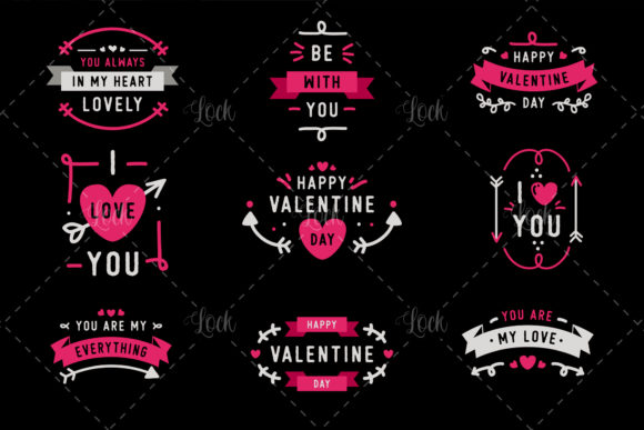 Beautiful Valentine's Day Badge Graphic Crafts By AllmoStudio - Image 2