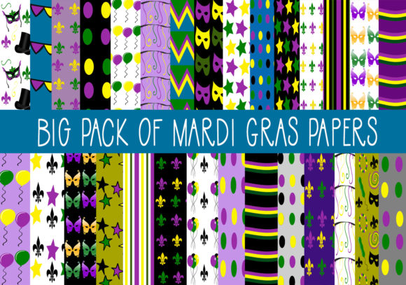 Print on Demand: Big Pack of Mardi Gras Papers Graphic Illustrations By capeairforce