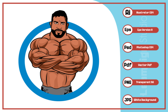Print on Demand: Black Body Builder Logo Design Graphic Icons By leamsign - Image 1