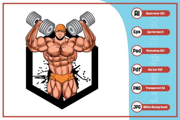 Print on Demand: Body Builder Logo Design Graphic Icons By leamsign - Image 1