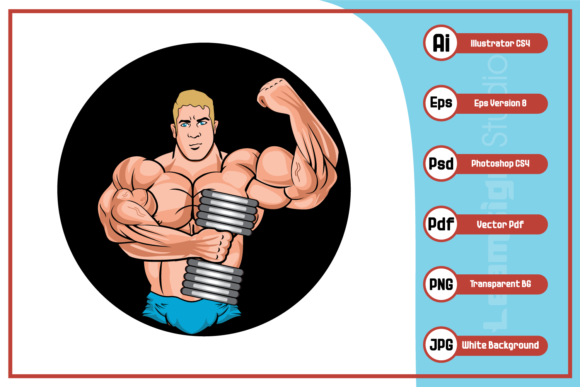 Print on Demand: Body Builder Logo Design Graphic Icons By leamsign