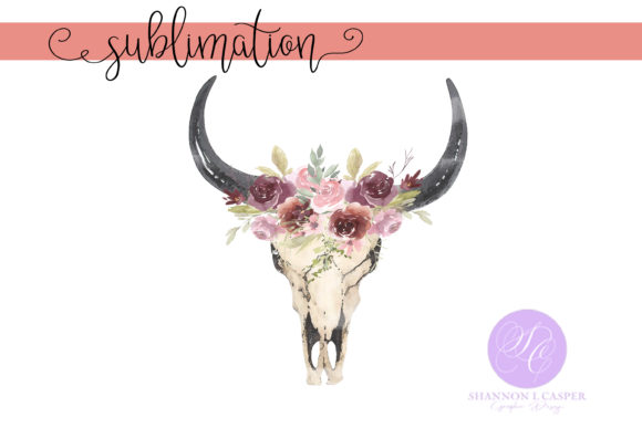 Print on Demand: Boho Cow Skull with Watercolor Flowers Graphic Illustrations By Shannon Casper - Image 1
