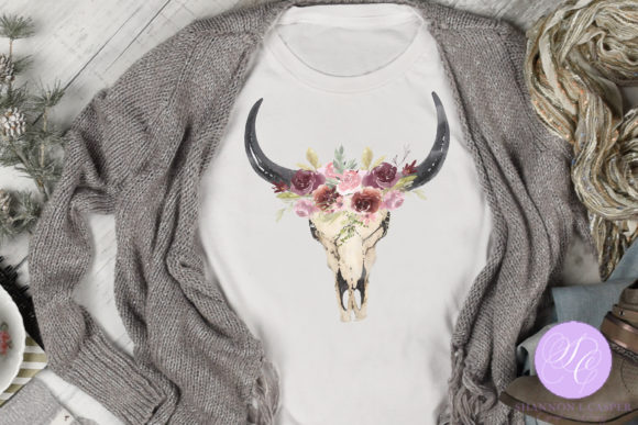 Print on Demand: Boho Cow Skull with Watercolor Flowers Graphic Illustrations By Shannon Casper - Image 2