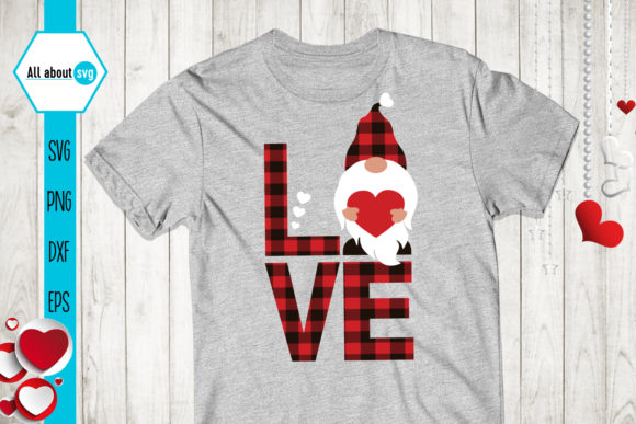 Buffalo Plaid Valentines Gnome Svg Graphic Crafts By All About Svg - Image 2