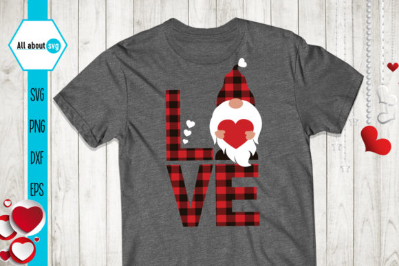 Buffalo Plaid Valentines Gnome Svg Graphic Crafts By All About Svg - Image 3