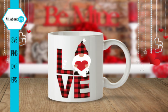Buffalo Plaid Valentines Gnome Svg Graphic Crafts By All About Svg - Image 5