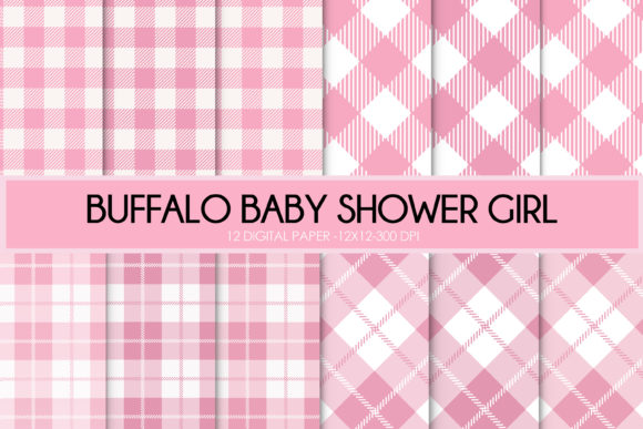 Print on Demand: Buffalo Plaid Baby Shower Girl Graphic Backgrounds By thecreativestyle