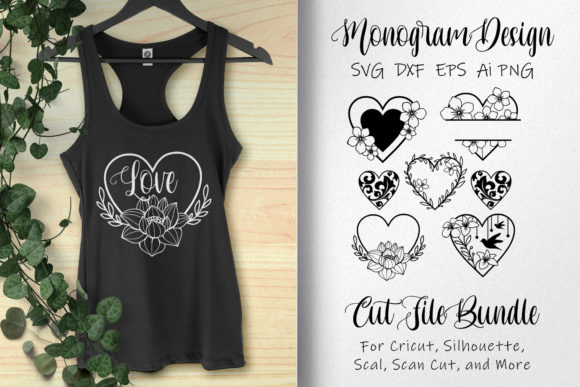 Bundle Monogram Love with Floral Graphic Illustrations By AllmoStudio