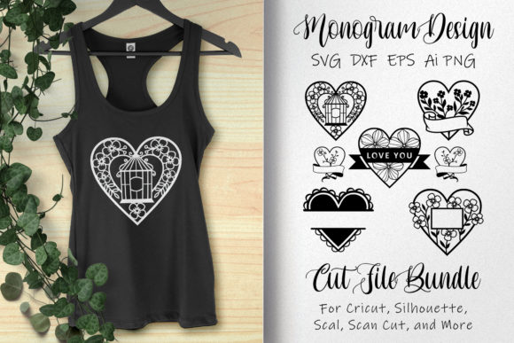 Download Free Bundle Monogram Love With Floral Graphic By Allmostudio for Cricut Explore, Silhouette and other cutting machines.