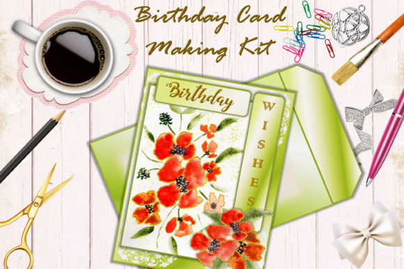 Card Making Kit. Birthday Watercolour Graphic Crafts By DigitalCraftsco