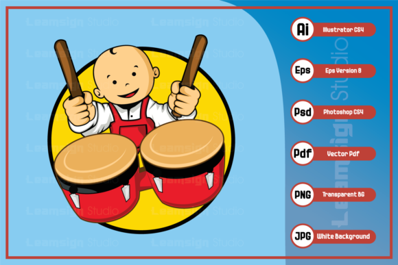 Download Free Cartoon Baby Character Playing Drums Graphic By Leamsign for Cricut Explore, Silhouette and other cutting machines.