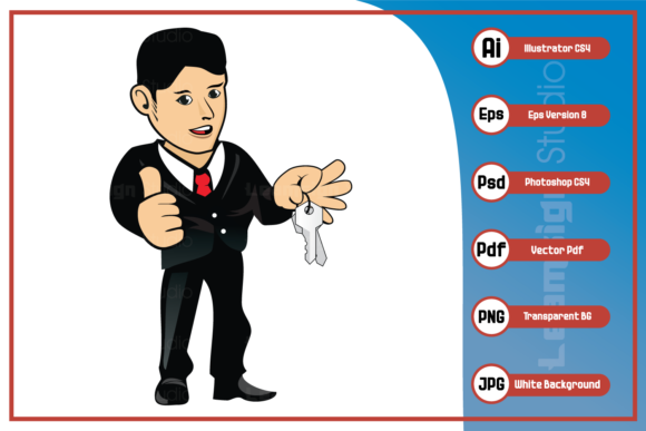 Print on Demand: Cartoon Marketing Officer Guy Character Graphic Icons By leamsign