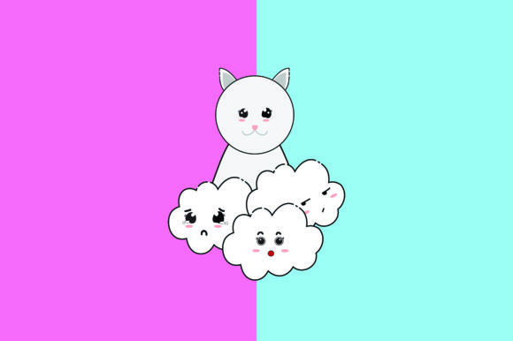 Download Free Cats And Clouds Kawaii Cute Illustration Graphic By Purplebubble Creative Fabrica for Cricut Explore, Silhouette and other cutting machines.