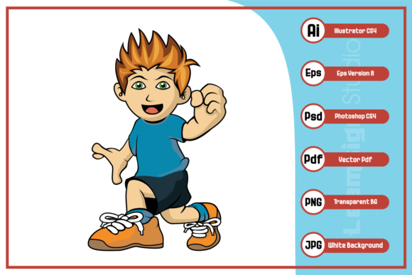 Print on Demand: Child Cartoon with Thumbs Up Design Graphic Icons By leamsign