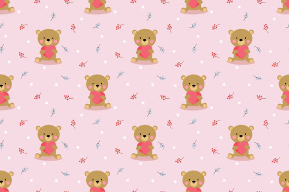 Download Free Cute Brown Bear Hug A Big Heart Seamless Graphic By Thanaporn for Cricut Explore, Silhouette and other cutting machines.