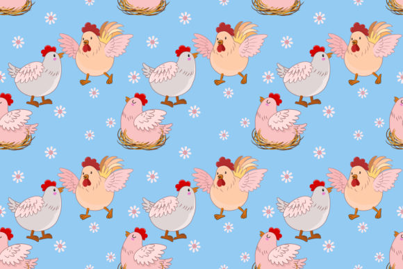 Cute Chicken Farm on Blue Background. Graphic Patterns By ranger262
