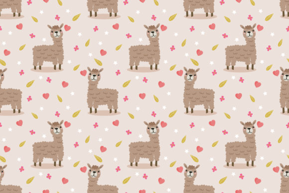 Download Free Cute Llama And Tiny Heart Seamless Graphic By Thanaporn Pinp for Cricut Explore, Silhouette and other cutting machines.