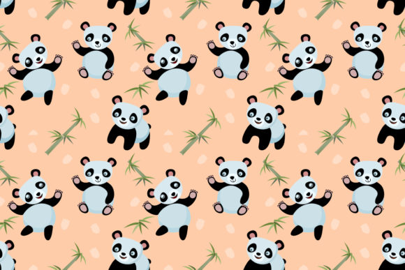 Cute Panda Bears with Bamboo Plant. Graphic Patterns By ranger262