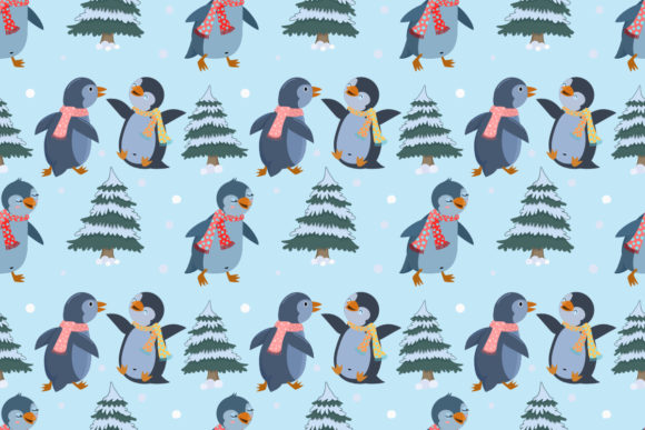 Download Free Cute Penguin Wear Scarves In Winter Graphic By Ranger262 for Cricut Explore, Silhouette and other cutting machines.