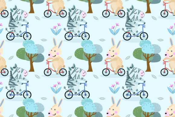 Cute Rabbit and Zebra on Bicycle Pattern Graphic Patterns By ranger262