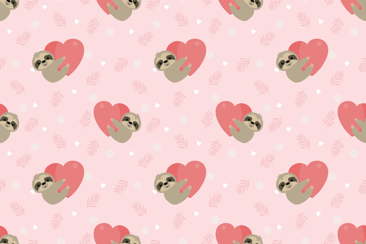 Download Free Cute Sloth Hug A Big Heart Seamless Graphic By Thanaporn Pinp for Cricut Explore, Silhouette and other cutting machines.