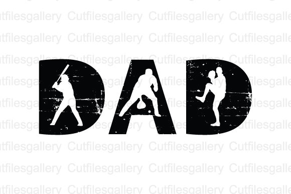 Dad Baseball Distressed SVG Graphic Crafts By cutfilesgallery