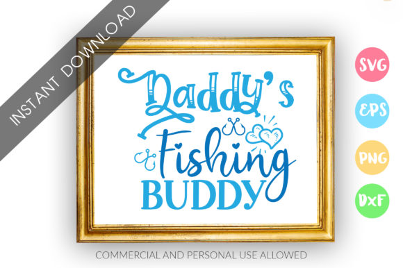 Print on Demand: Dadys Fishing Buddy SVG Graphic Crafts By DesignFarm - Image 1